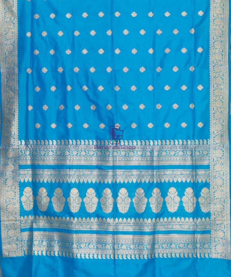 Banarasi Pure Katan Silk Handloom Sky Blue Saree 2
