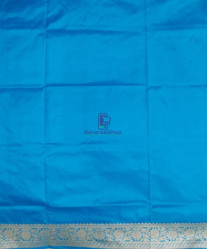 Banarasi Pure Katan Silk Handloom Sky Blue Saree 4