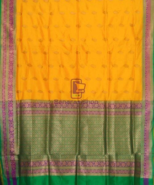 Banarasi Pure Katan Silk Handloom Yellow Green Saree 5