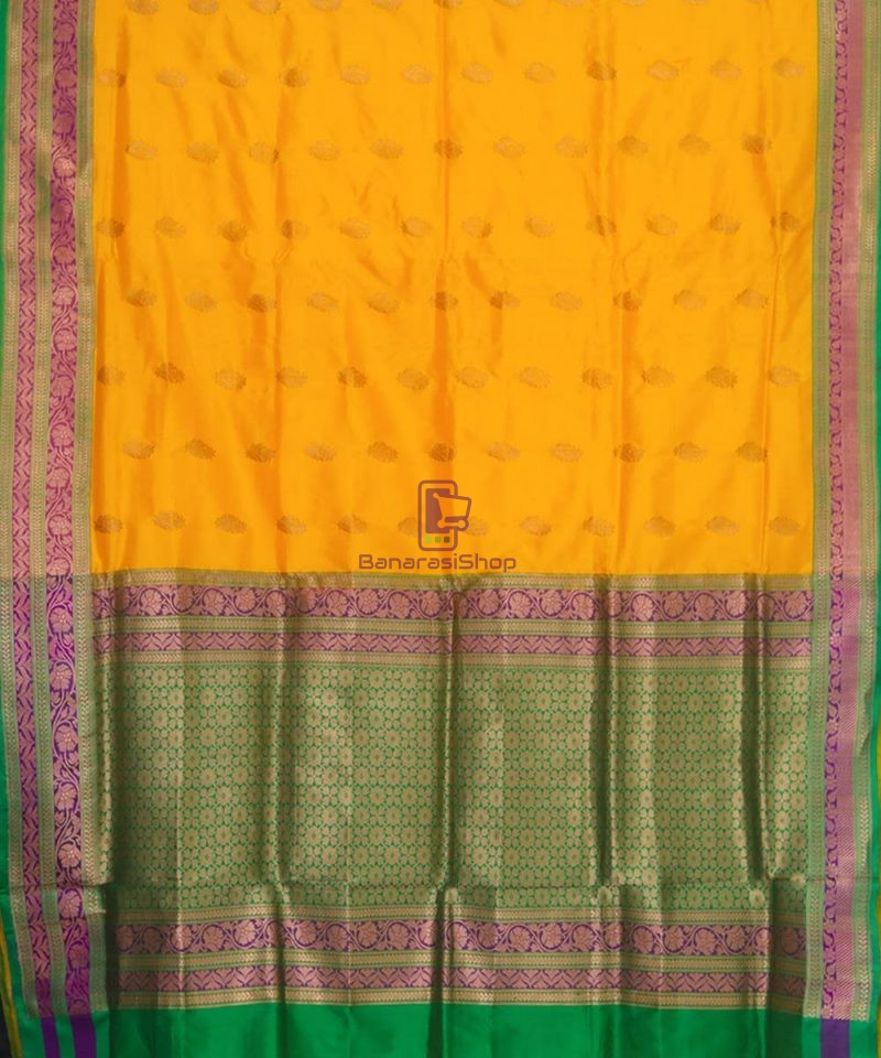 Banarasi Pure Katan Silk Handloom Yellow Green Saree 2
