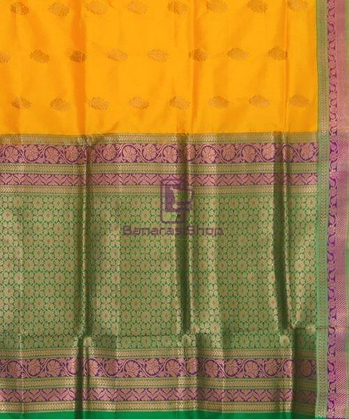 Banarasi Pure Katan Silk Handloom Yellow Green Saree 6