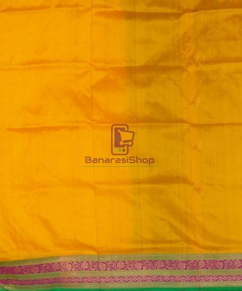 Banarasi Pure Katan Silk Handloom Yellow Green Saree 7