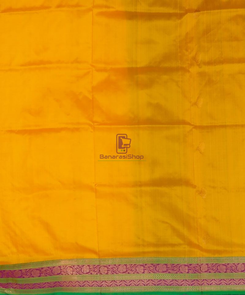 Banarasi Pure Katan Silk Handloom Yellow Green Saree 4