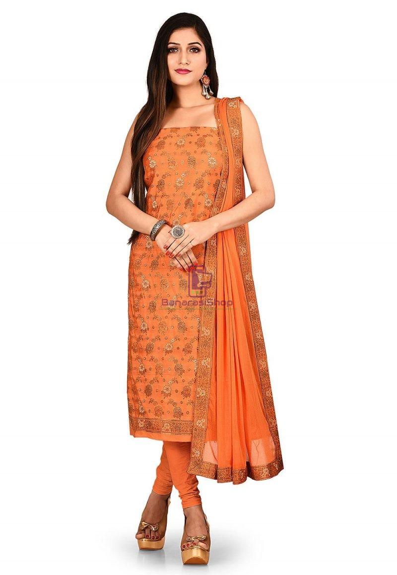Woven Banarasi Art Silk Straight Suit in Orange 1