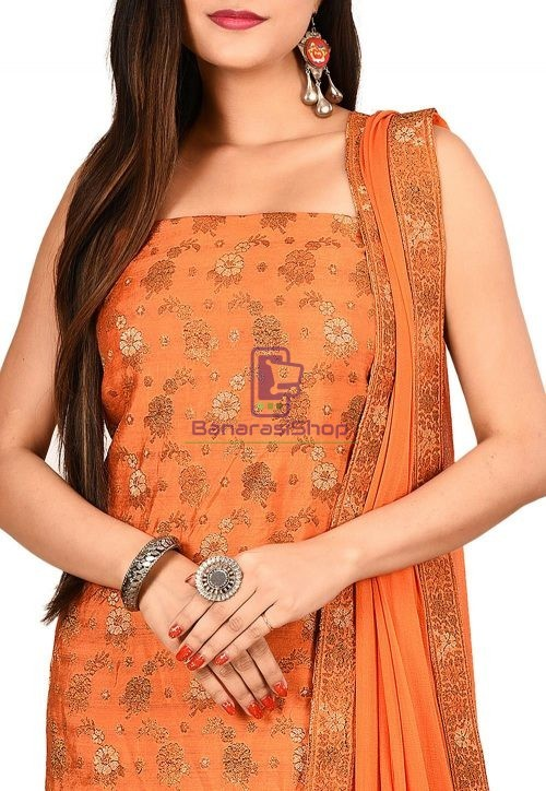 Woven Banarasi Art Silk Straight Suit in Orange 3