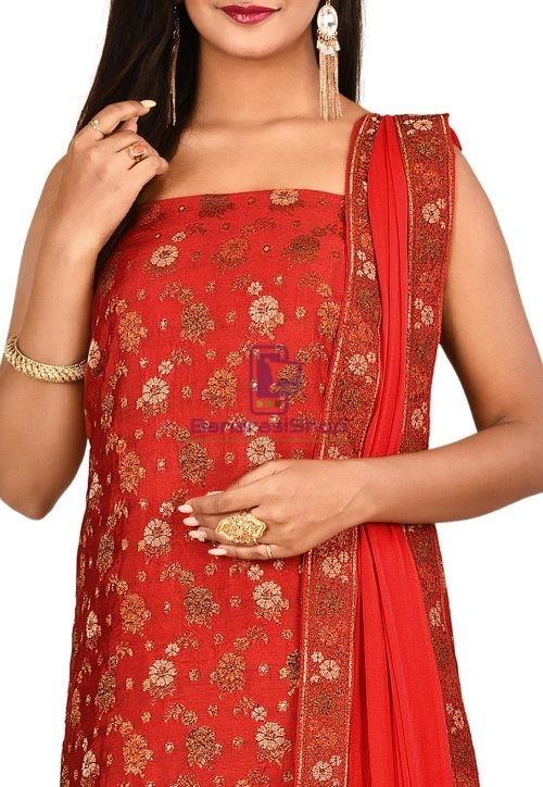 Woven Banarasi Art Silk Straight Suit in Red 3