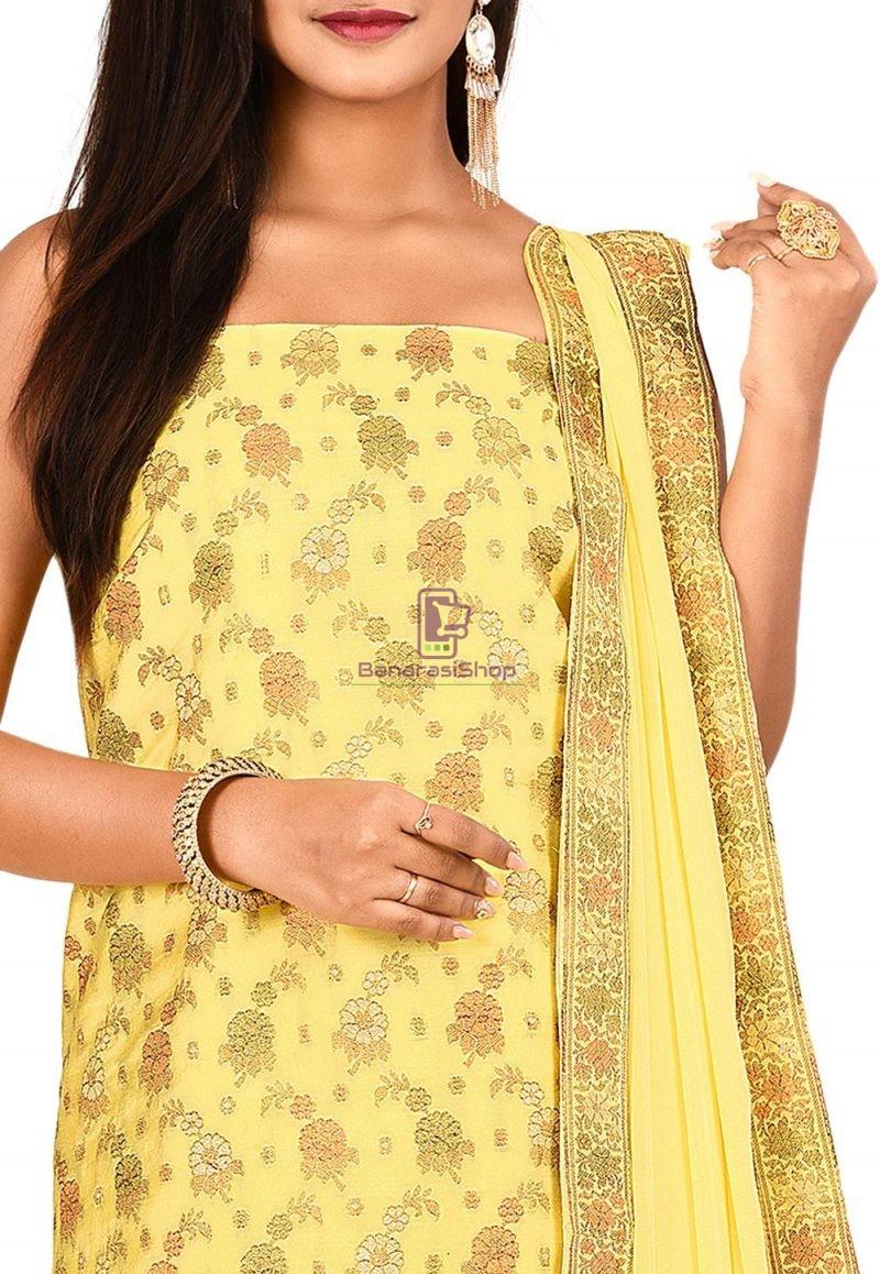 Woven Banarasi Art Silk Straight Suit in Yellow 2