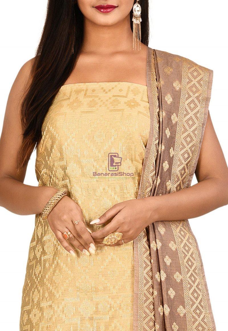 Woven Banarasi Cotton Silk Straight Suit in Beige 2