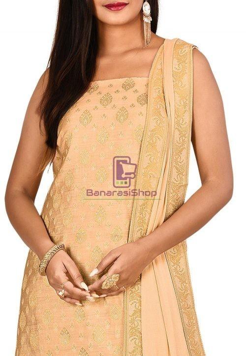 Woven Banarasi Cotton Silk Straight Suit in Beige 3