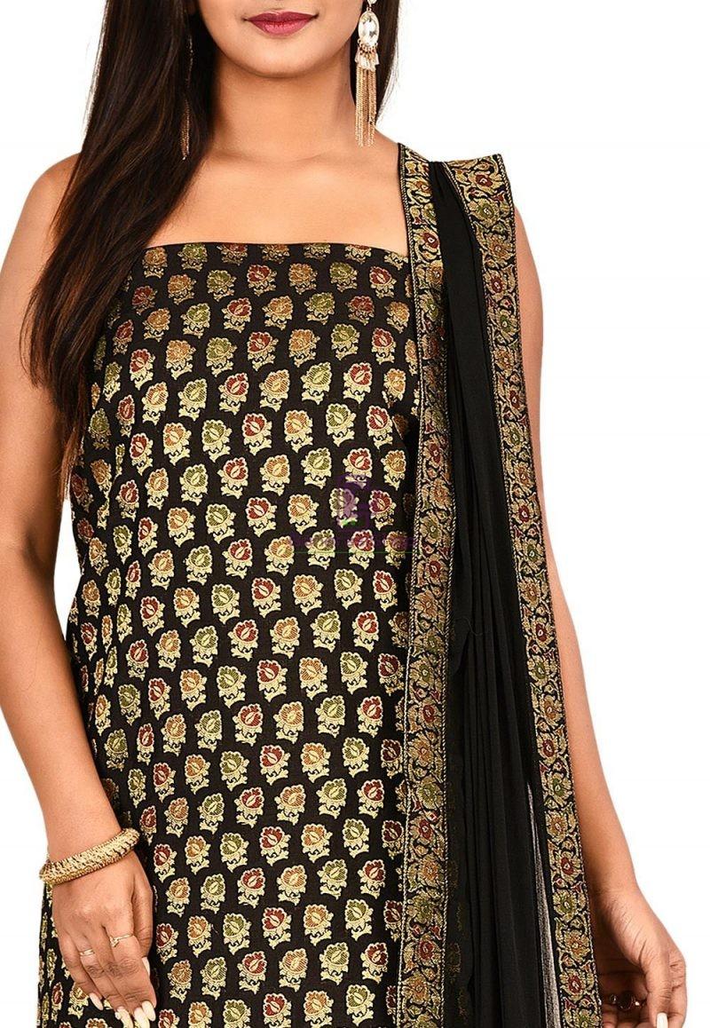 Woven Banarasi Cotton Silk Straight Suit in Black 2