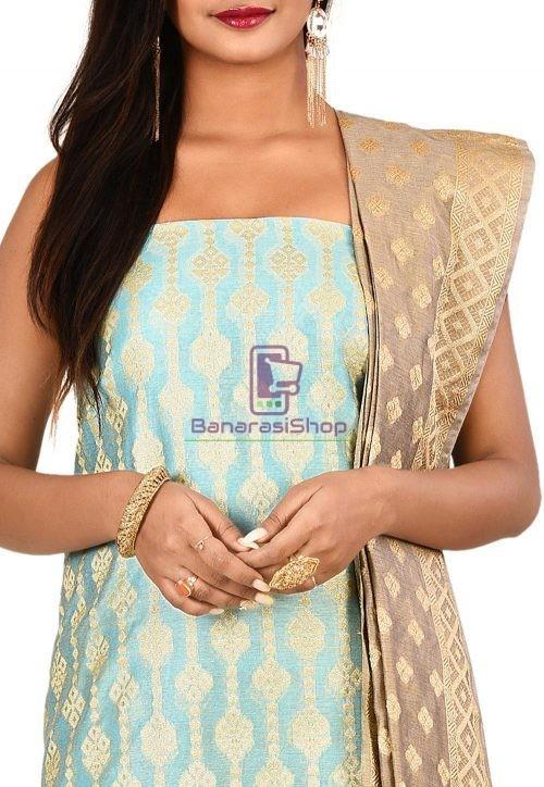 Woven Banarasi Cotton Silk Straight Suit in Blue 3