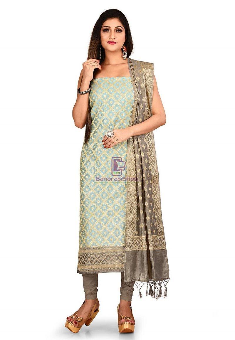 Woven Banarasi Cotton Silk Straight Suit in Blue 1