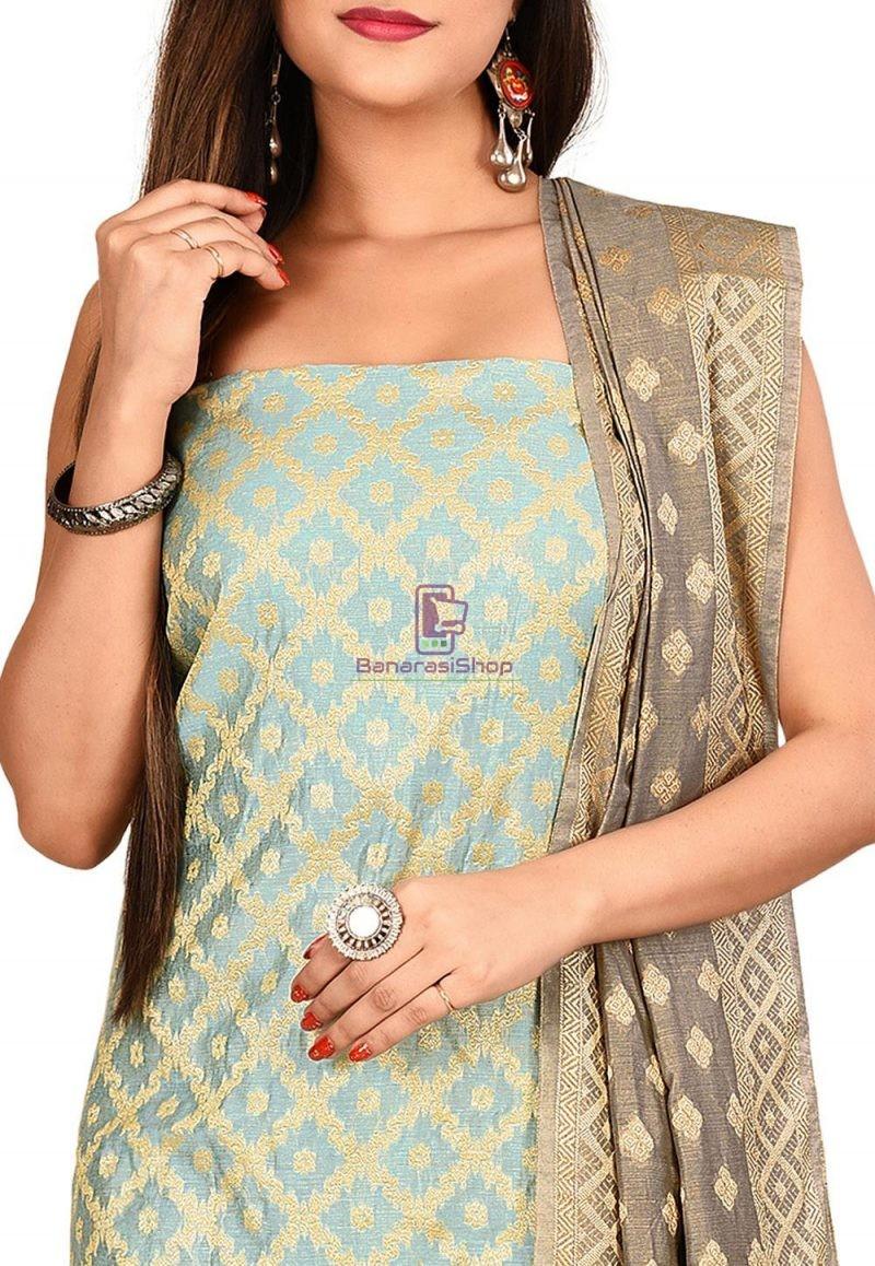Woven Banarasi Cotton Silk Straight Suit in Blue 2