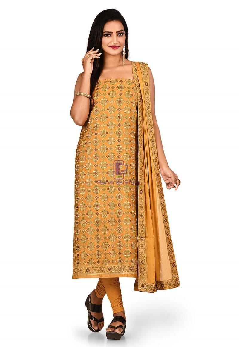 Woven Banarasi Cotton Silk Straight Suit in Brown 1
