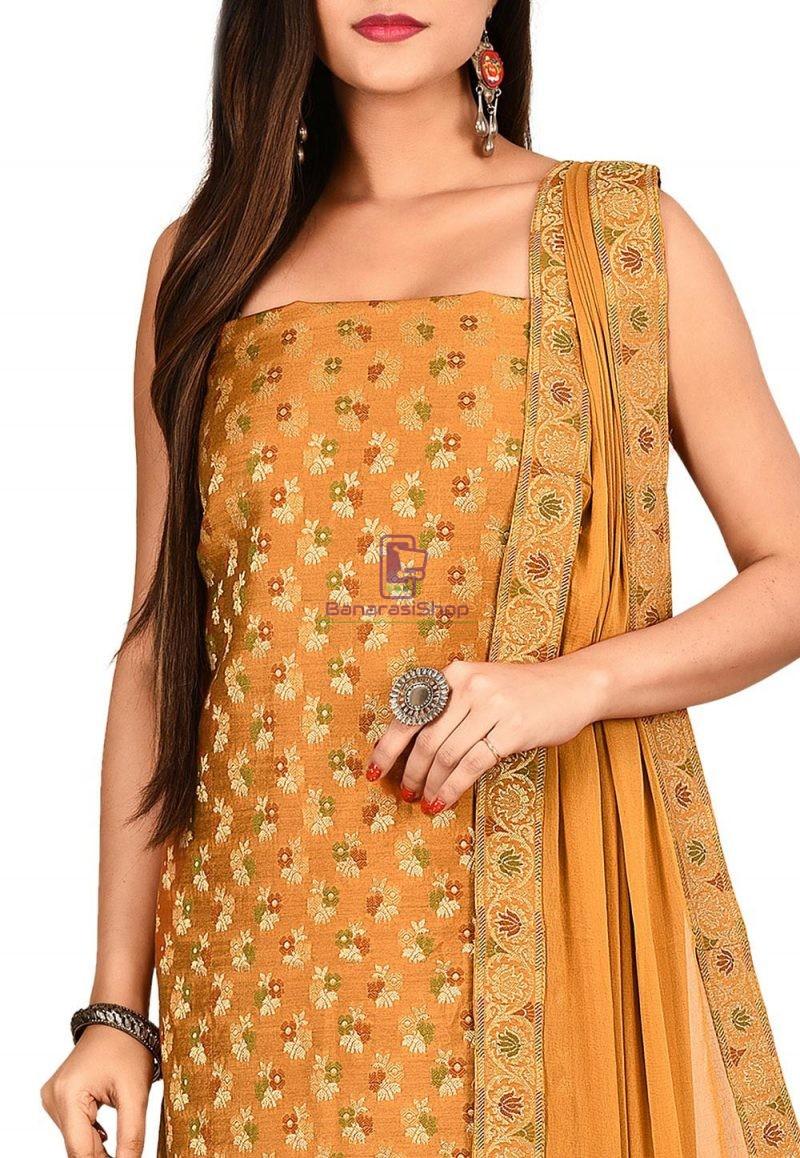 Woven Banarasi Cotton Silk Straight Suit in Brown 2