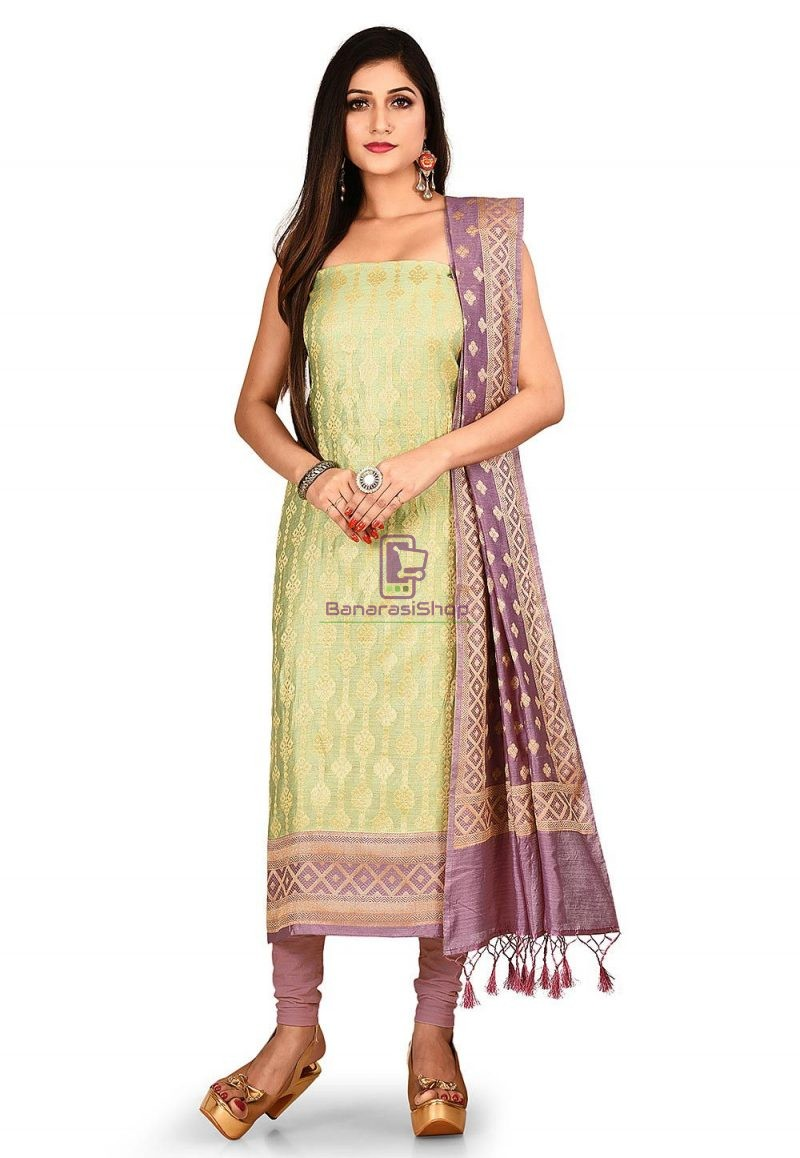 Woven Banarasi Cotton Silk Straight Suit in Green 1