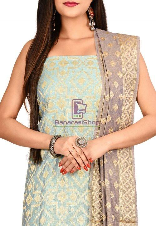 Woven Banarasi Cotton Silk Straight Suit in Light Blue 3