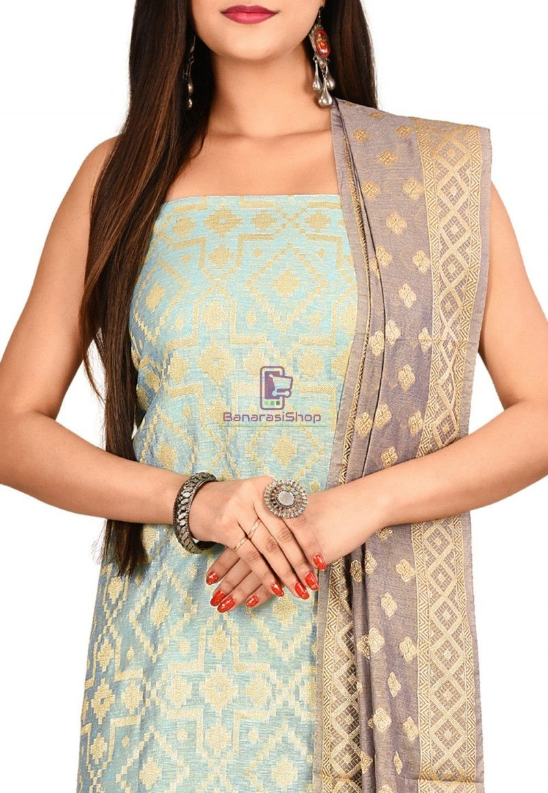 Woven Banarasi Cotton Silk Straight Suit in Light Blue 2