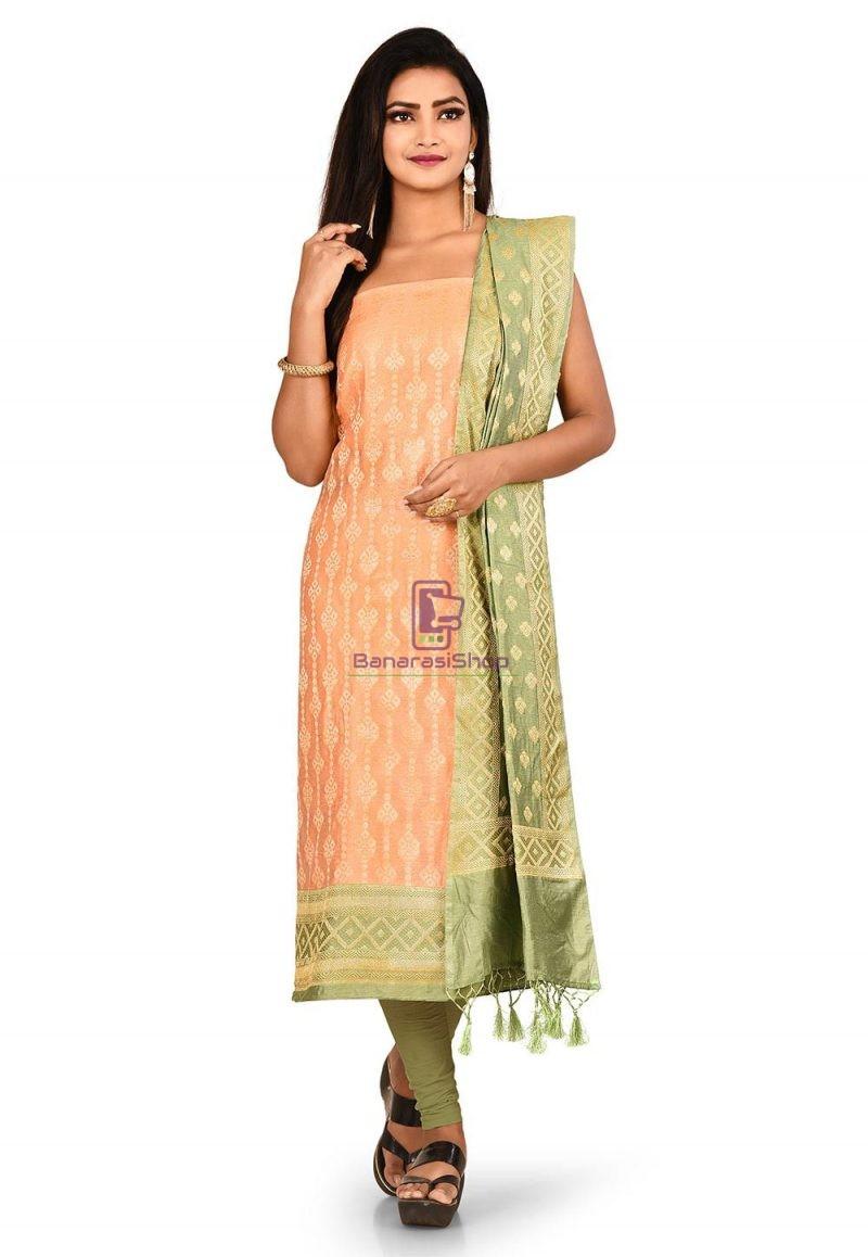 Woven Banarasi Cotton Silk Straight Suit in Orange 1