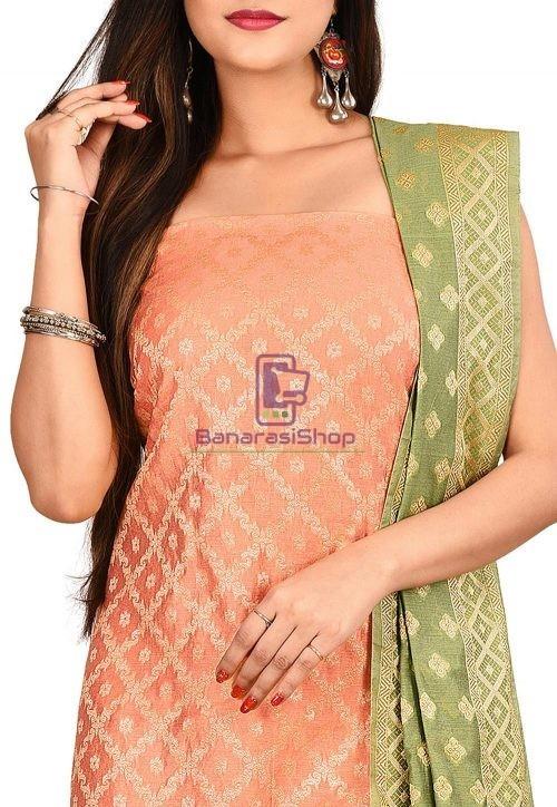 Woven Banarasi Cotton Silk Straight Suit in Orange 3