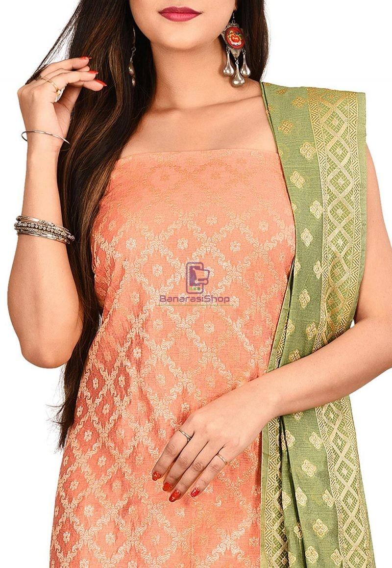 Woven Banarasi Cotton Silk Straight Suit in Orange 2