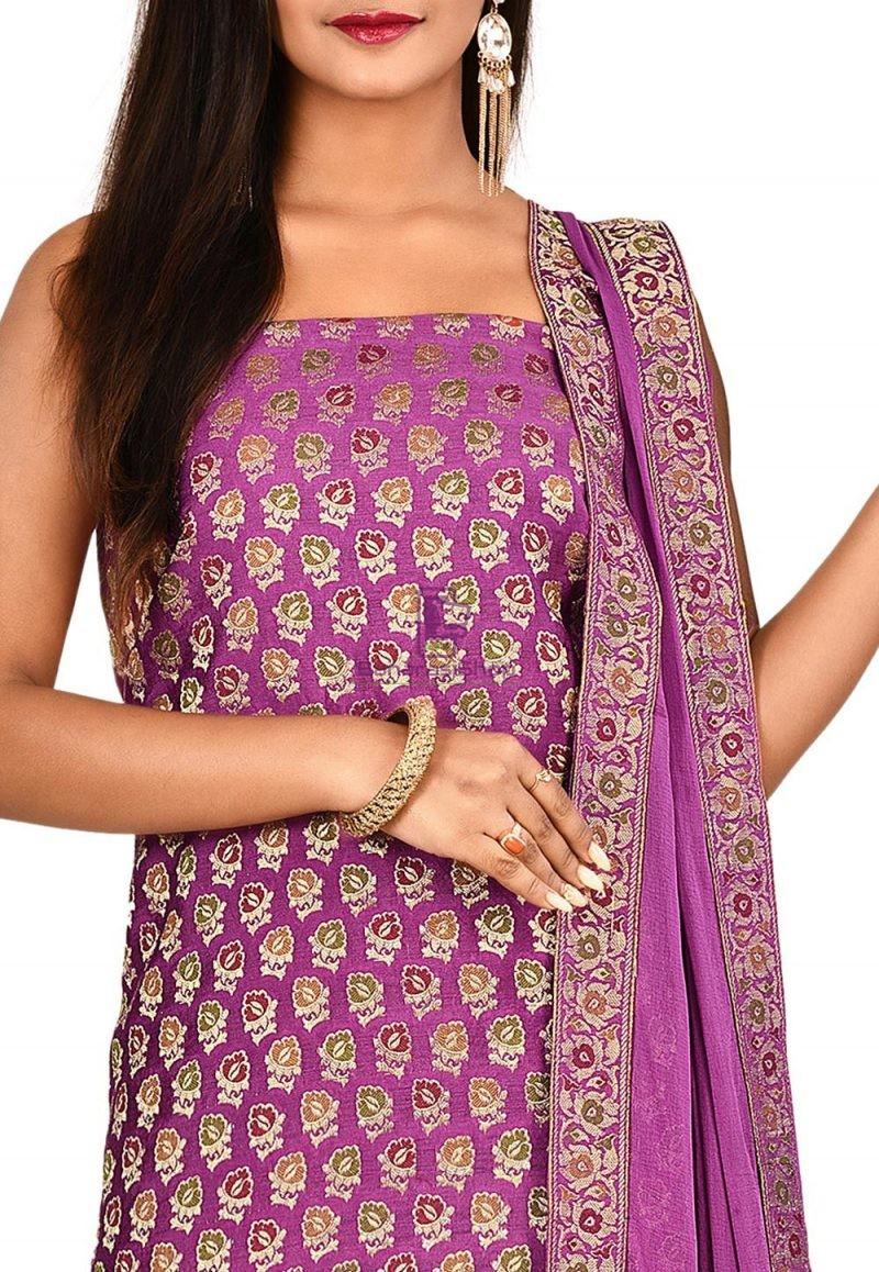 Woven Banarasi Cotton Silk Straight Suit in Purple 2