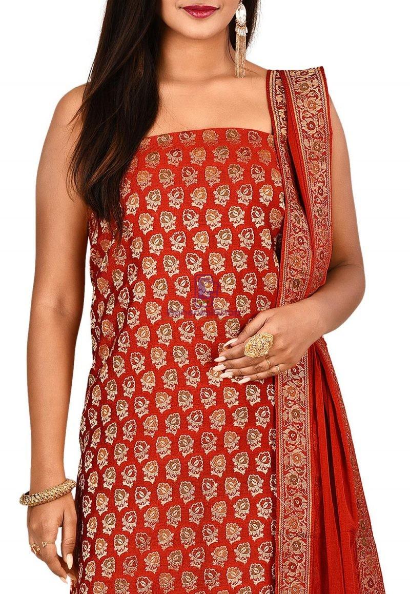 Woven Banarasi Cotton Silk Straight Suit in Red 2