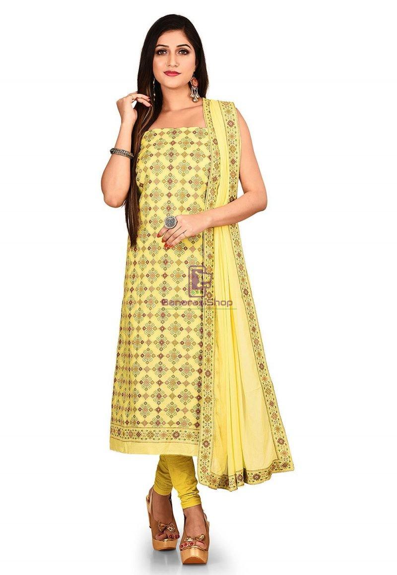 Woven Banarasi Cotton Silk Straight Suit in Yellow 1
