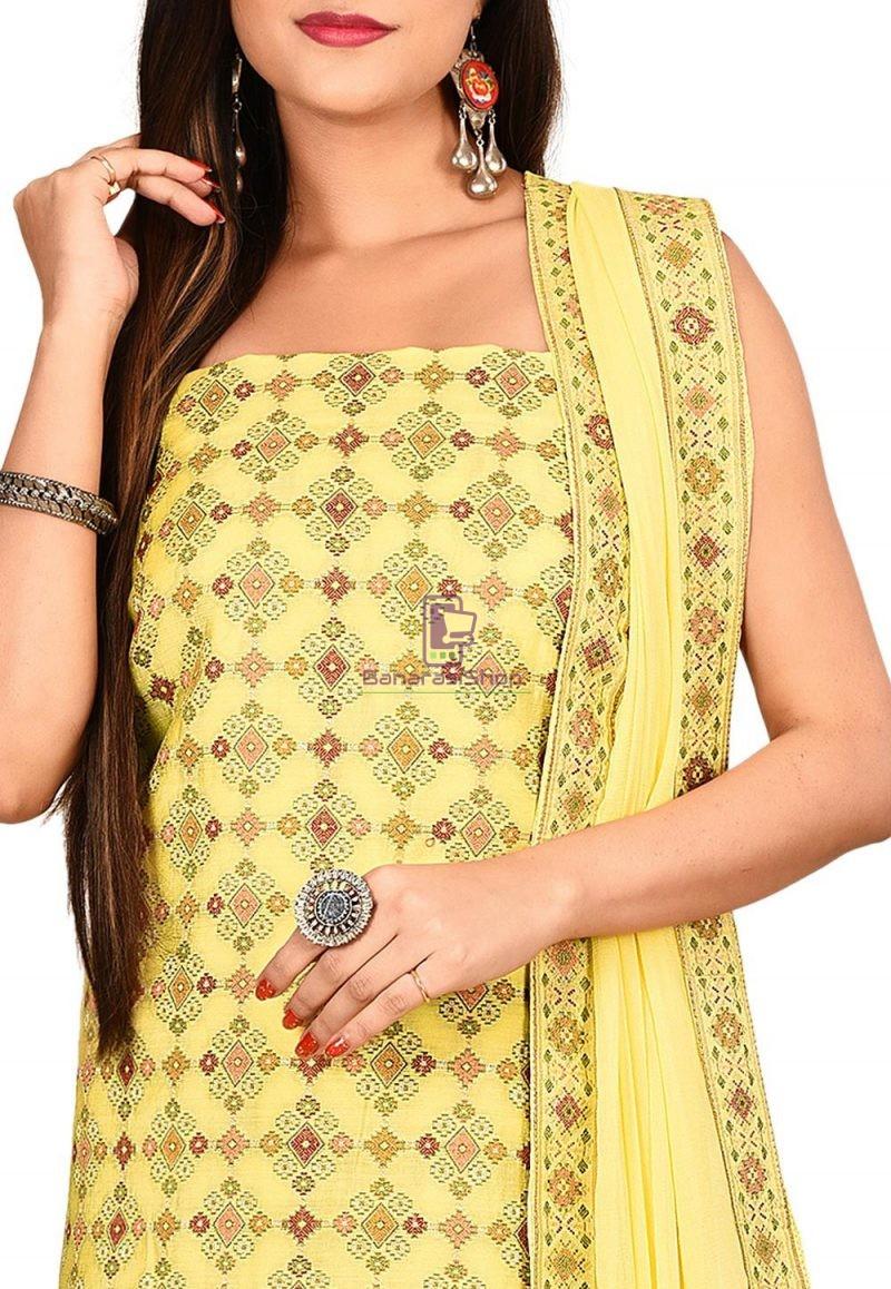 Woven Banarasi Cotton Silk Straight Suit in Yellow 2