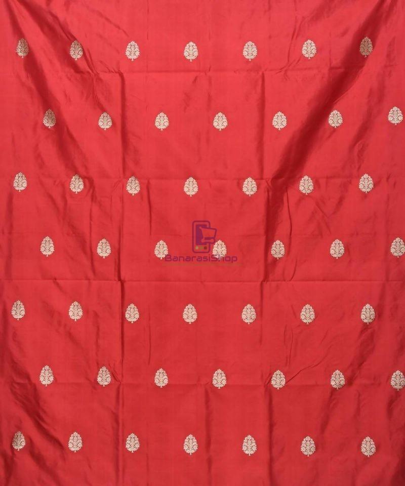 Banarasi Pure Handloom Katan Silk Fabric in Ruby Red 2