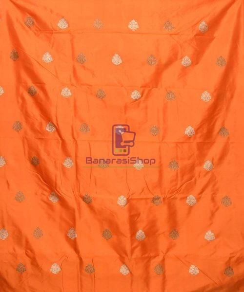 Banarasi Pure Handloom Katan Silk Fabric in Orange 3
