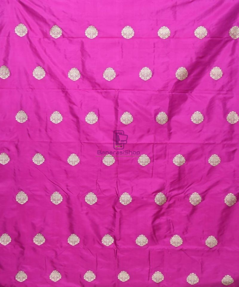 Banarasi Pure Handloom Katan Silk Fabric in Jam Purple 2