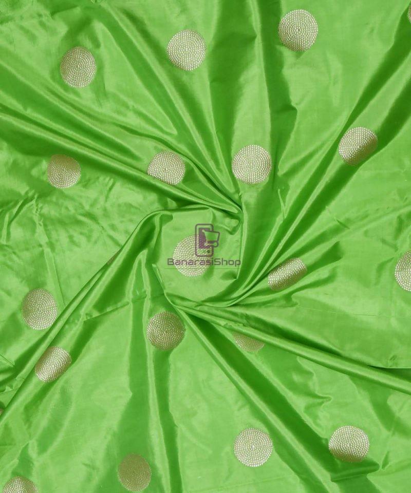 Banarasi Pure Handloom Katan Silk Fabric in Pear Green 1