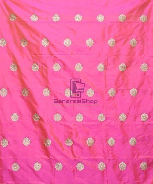 Banarasi Pure Handloom Katan Silk Fabric in Bright Pink 3