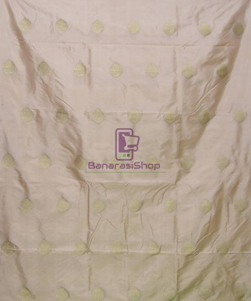 Banarasi Pure Handloom Katan Silk Fabric in Beige 3