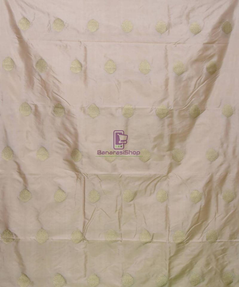 Banarasi Pure Handloom Katan Silk Fabric in Beige 2
