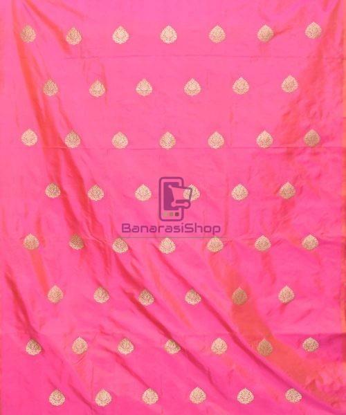 Banarasi Pure Handloom Katan Silk Fabric in Fuschia Pink 3