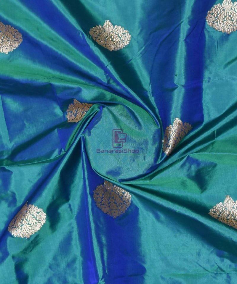 Banarasi Pure Handloom Katan Silk Fabric in Peacock Blue 1