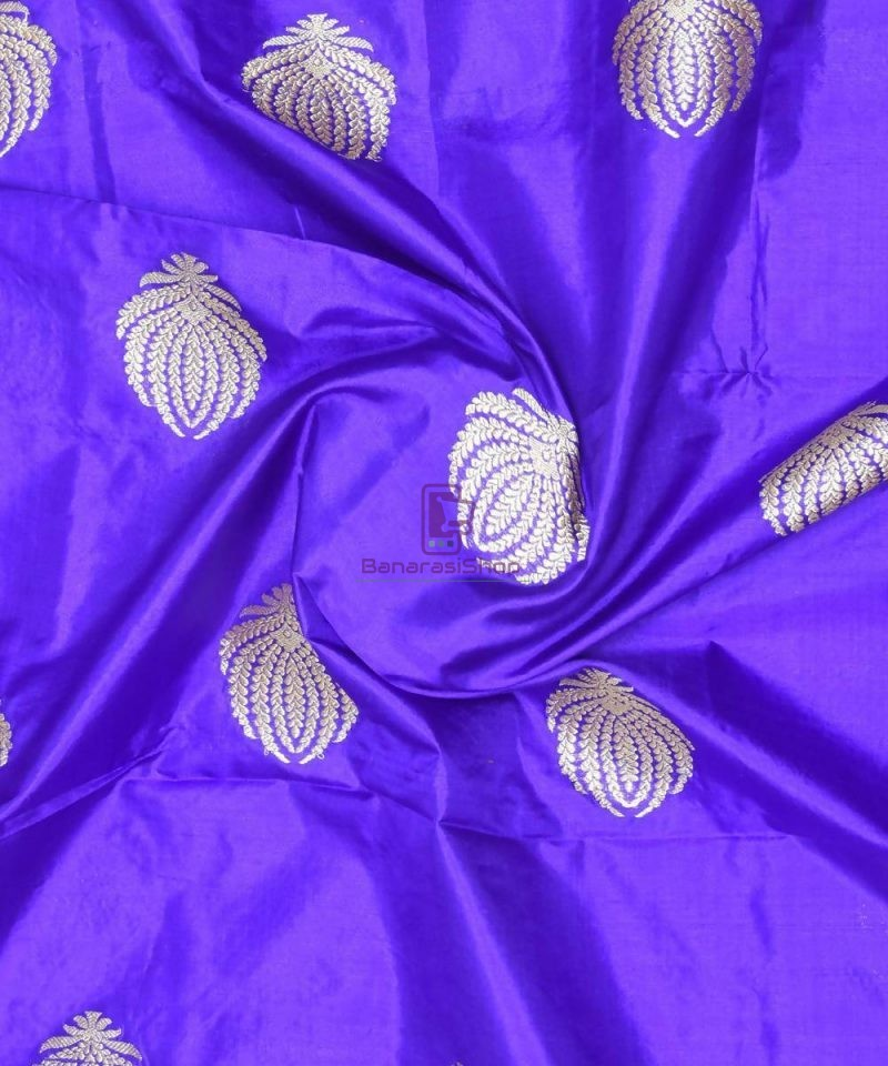 Banarasi Pure Handloom Katan Silk Fabric in Berry Blue 1