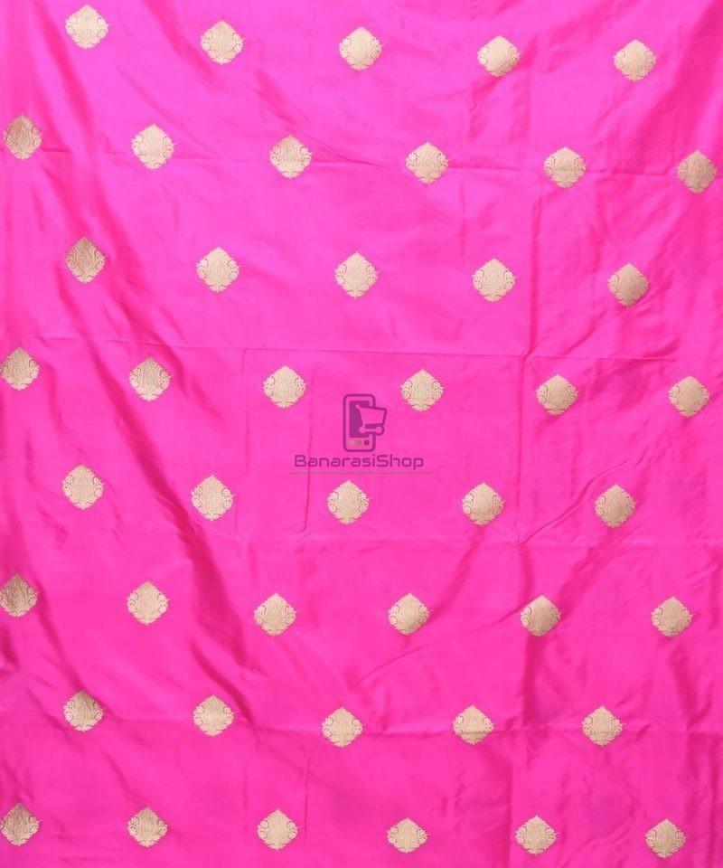 Banarasi Pure Handloom Katan Silk Fabric in Bright Pink 2