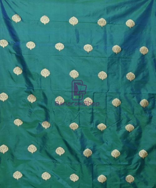 Banarasi Pure Handloom Katan Silk Fabric in Peacock Blue 3
