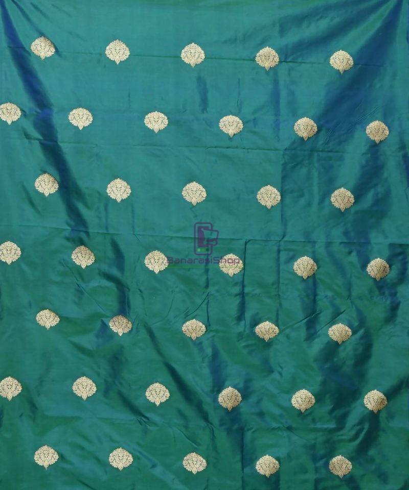 Banarasi Pure Handloom Katan Silk Fabric in Peacock Blue 2