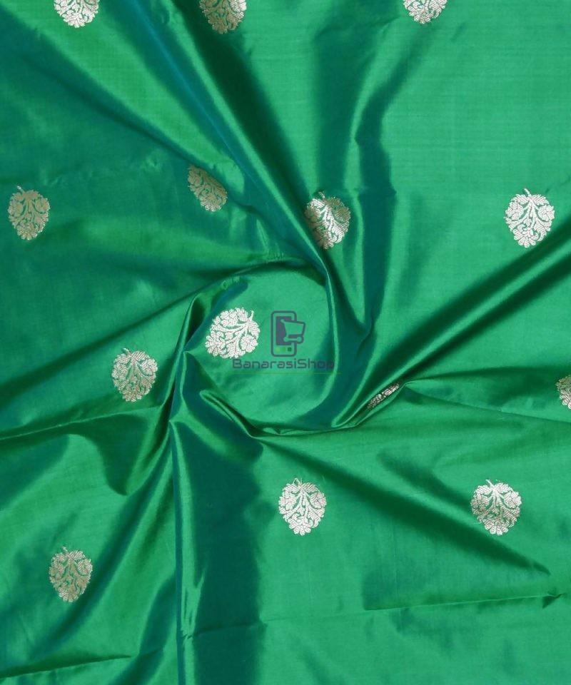 Banarasi Pure Handloom Katan Silk Fabric in Green 1