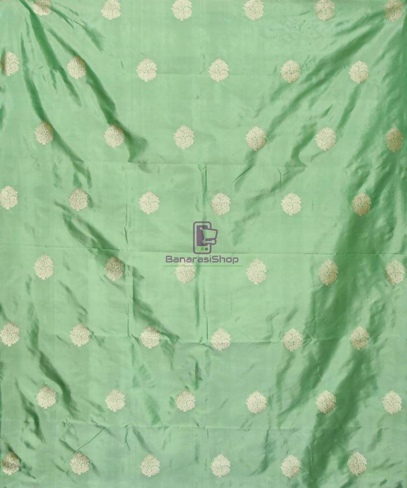 Banarasi Pure Handloom Katan Silk Fabric in Ocean Green 2