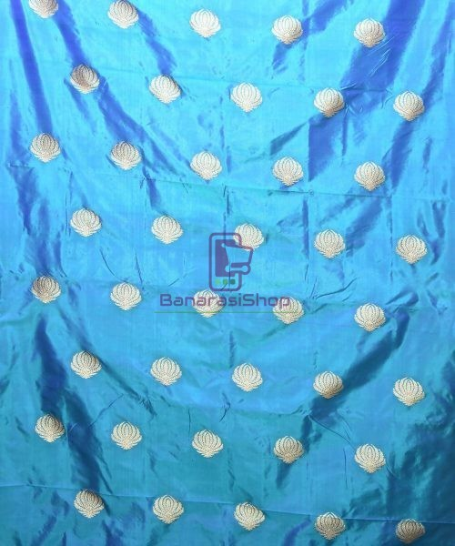 Banarasi Pure Handloom Katan Silk Fabric in Cerulean Blue 3
