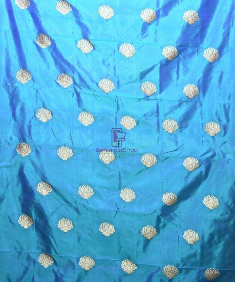 Banarasi Pure Handloom Katan Silk Fabric in Cerulean Blue 2
