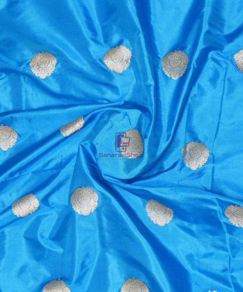 Banarasi Pure Handloom Katan Silk Fabric in Blue 1