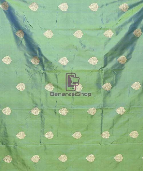 Banarasi Pure Handloom Katan Silk Fabric in Ocean Green 3
