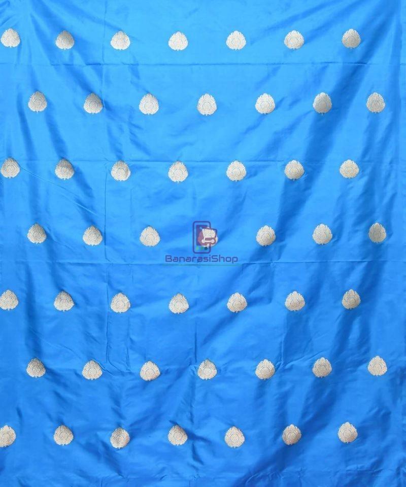 Banarasi Pure Handloom Katan Silk Fabric in Blue 2