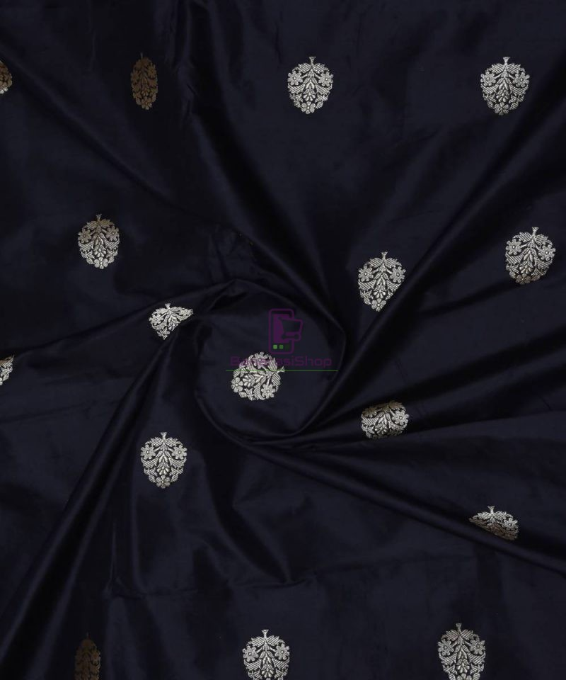 Banarasi Pure Handloom Katan Silk Fabric in Black 1